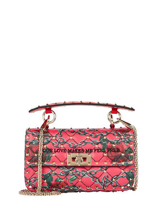 Rockstud Rose Small Crossbody, RED, hi-res
