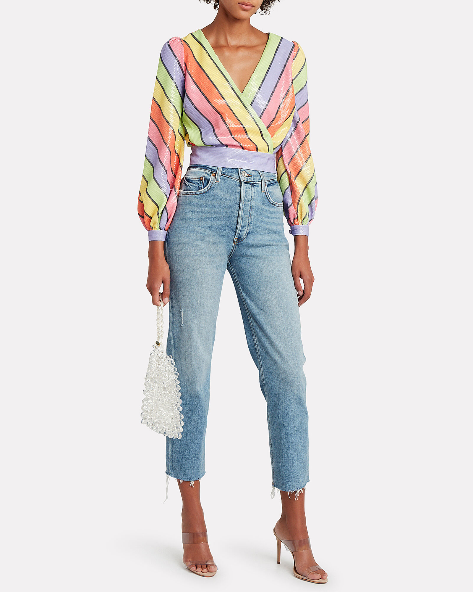 Kendall Striped Sequined Blouse, RAINBOW STRIPE, hi-res