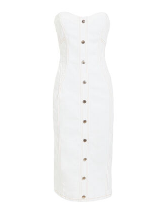 Liza White Denim Dress, WHITE, hi-res