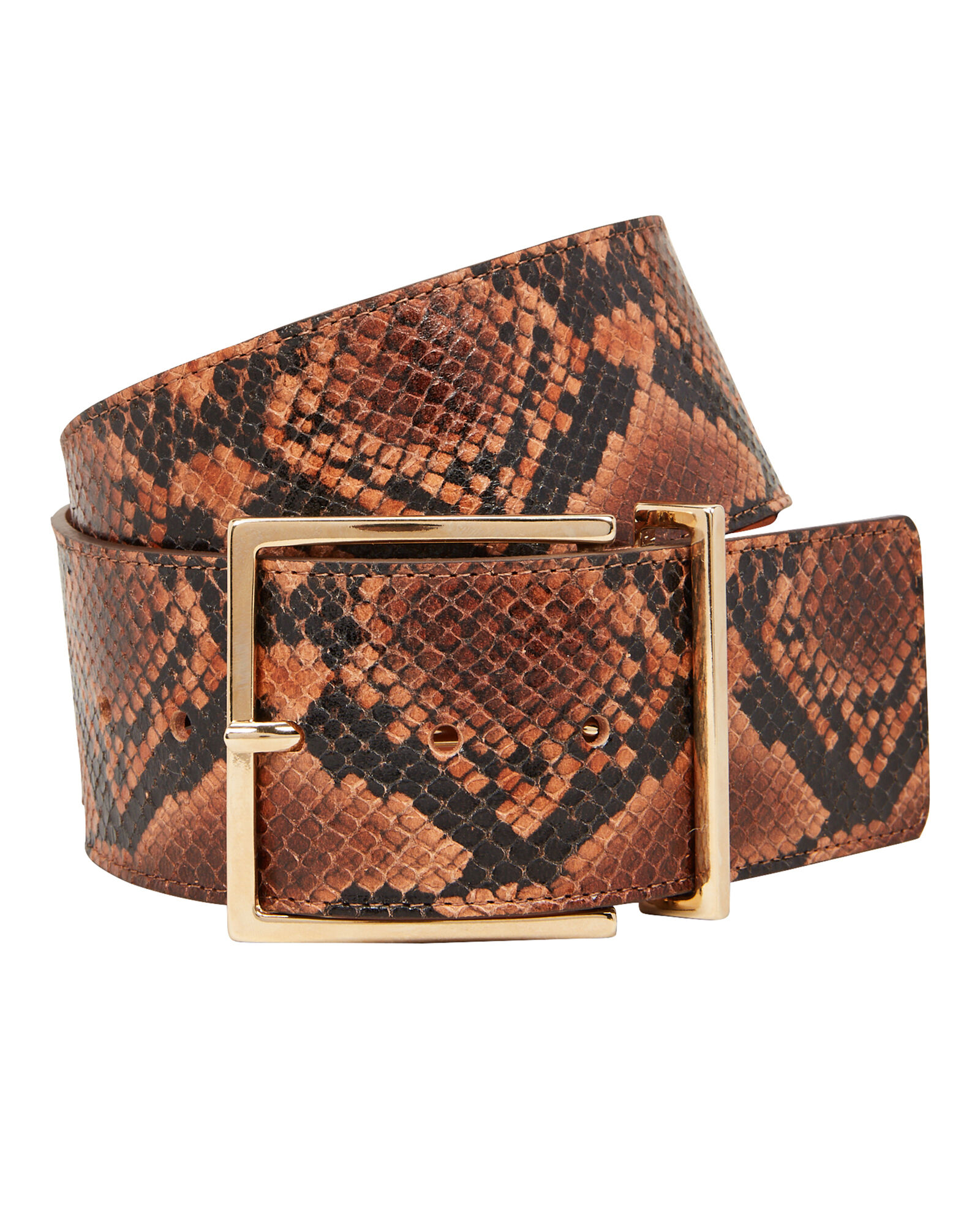 Python Printed Waist Belt, BROWN/BLACK, hi-res