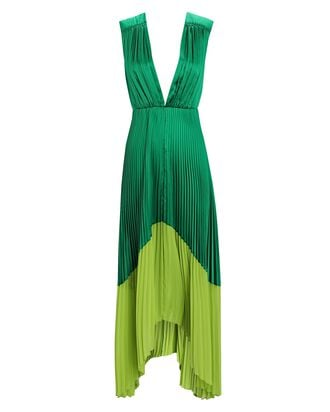 Amelia Pleated Satin Midi Dress, GREEN, hi-res