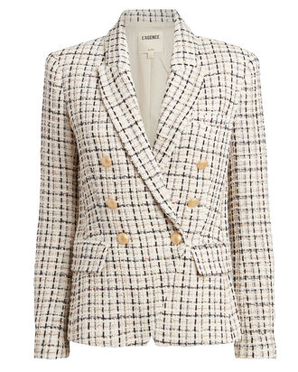 Kenzie Double Breasted Tweed Blazer, WHITE, hi-res