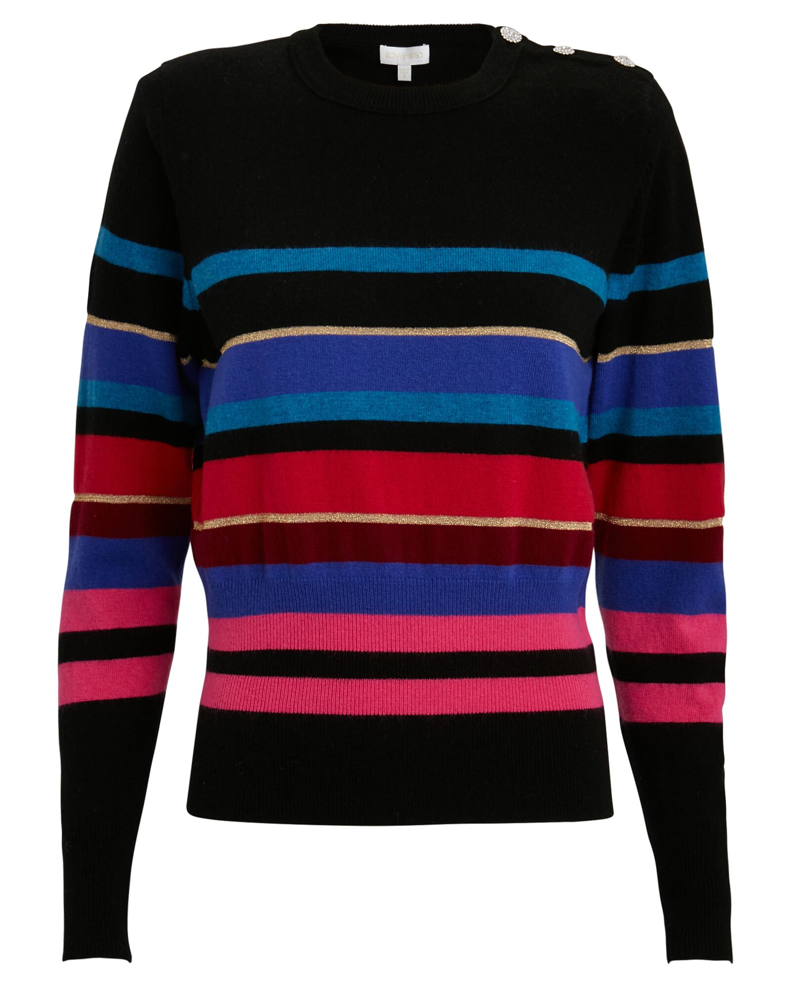 Inge Striped Wool-Cashmere Sweater, BLACK, hi-res