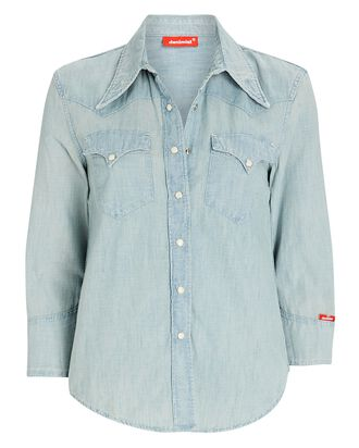 Denim Cowboy Button-Down Shirt, SOMMERSET, hi-res