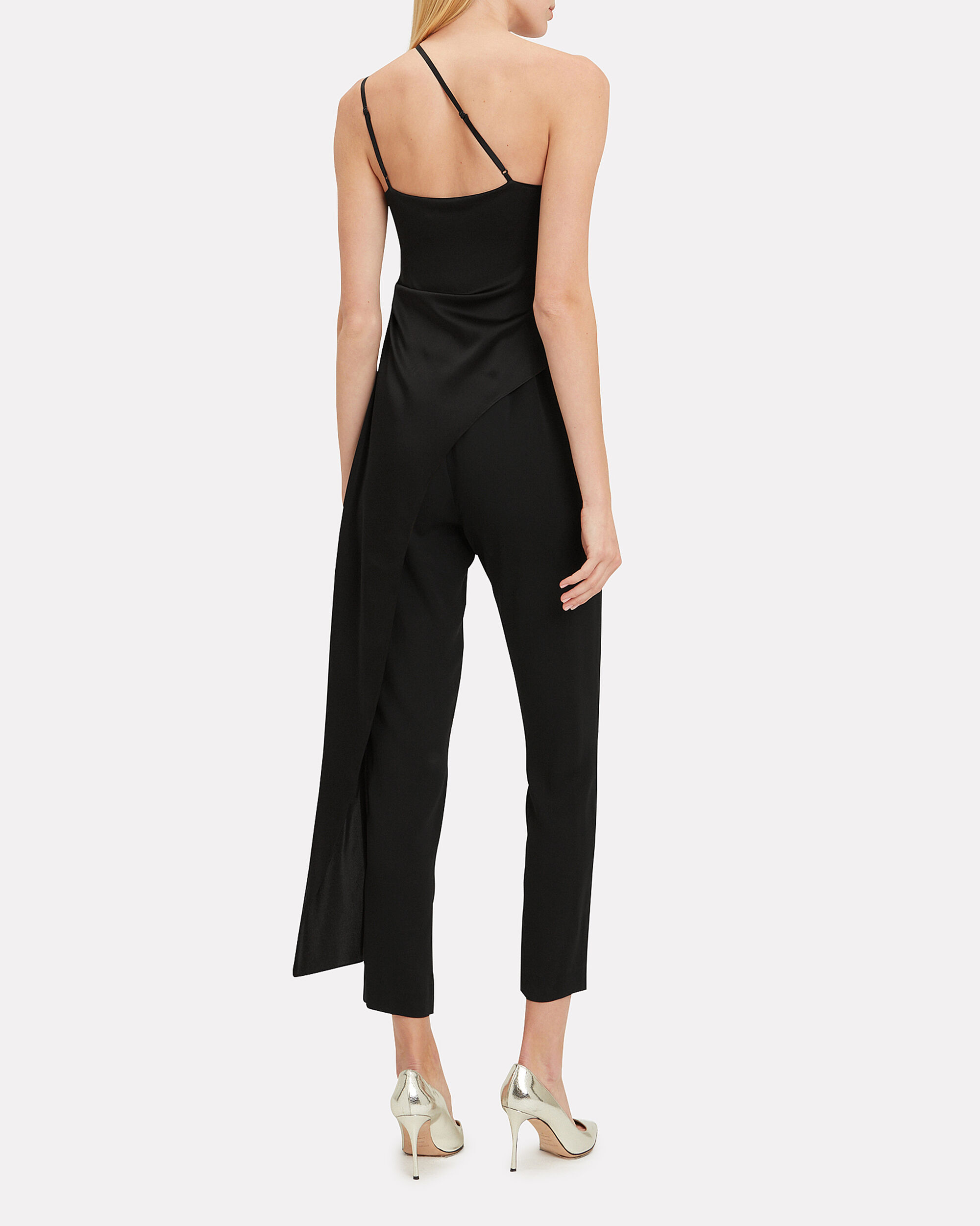 Asymmetrical Drape Jumpsuit, BLACK, hi-res