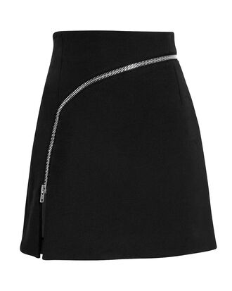 Curved Zip Detail Mini Skirt, BLACK, hi-res