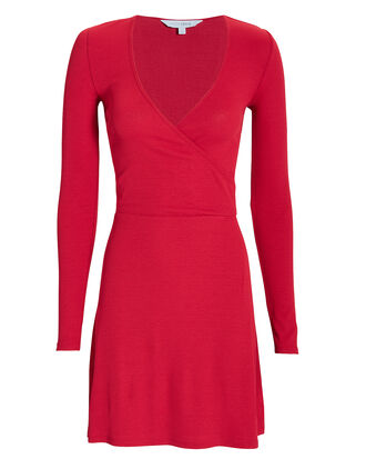 Serena Wrap Front Knit Mini Dress, RED, hi-res