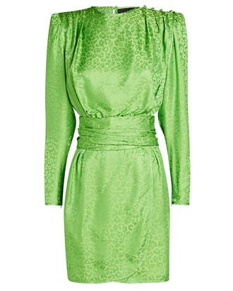 Ruched Leopard Satin Mini Dress, GREEN, hi-res