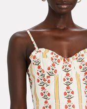 Acacia Bustier Floral Linen Dress, CREAM/RED/YELLOW, hi-res