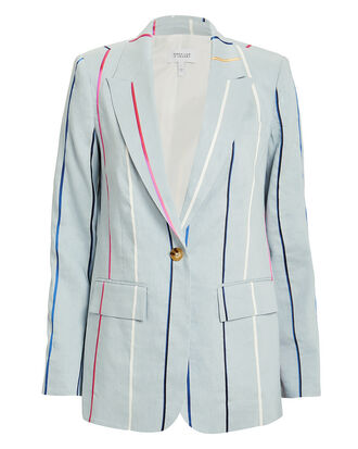 Striped Single Button Blazer, PALE BLUE/STRIPE, hi-res