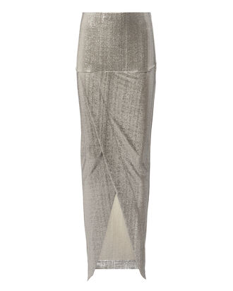 Lamé Wrap Skirt, SILVER 2, hi-res