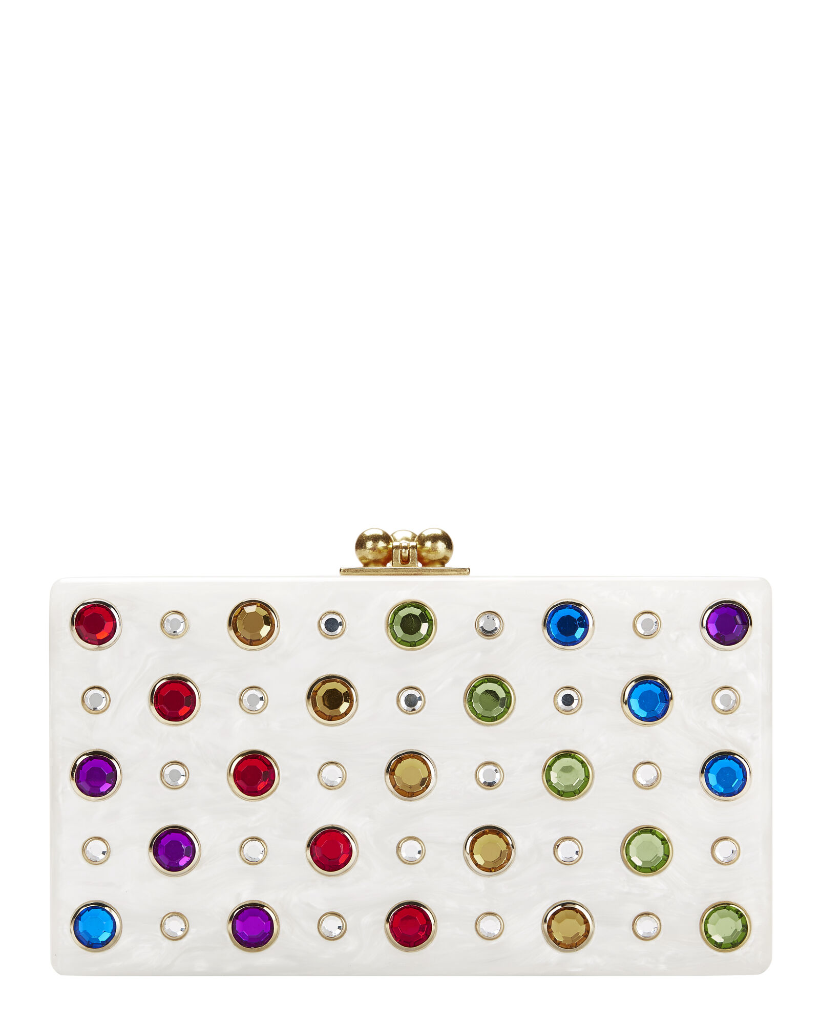 Jean Rainbow Jewel White Clutch, WHITE, hi-res