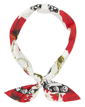 Poppy Skull Bandana, WHITE/RED, hi-res