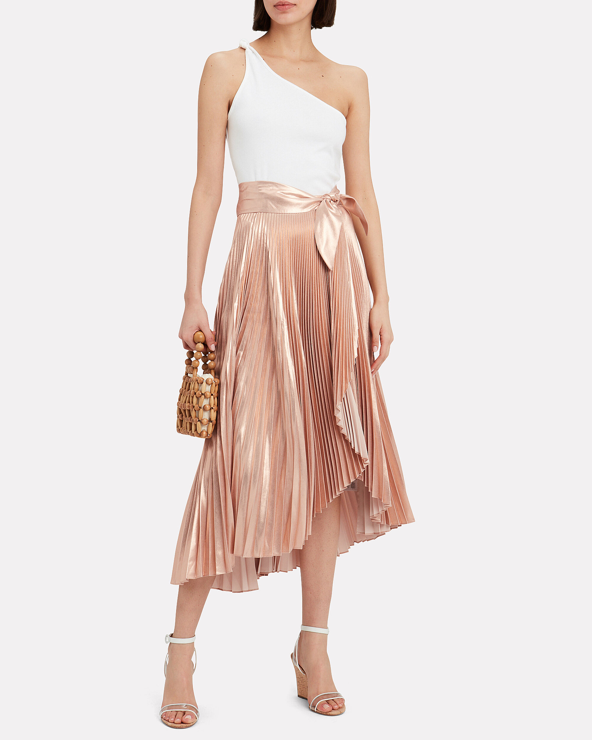 Eleanor Pleated Skirt, ROSE GOLD, hi-res