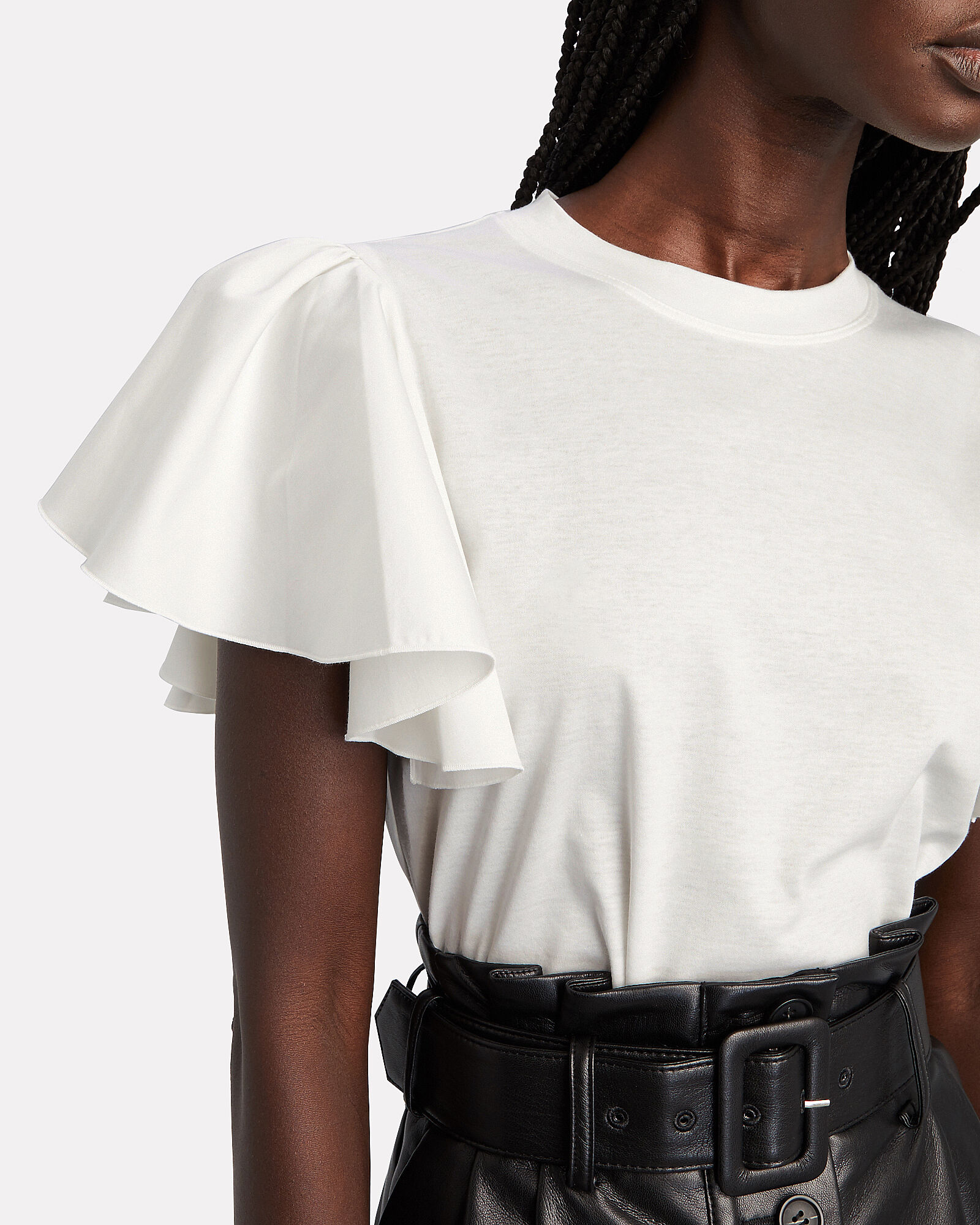Ruffled Cotton T-Shirt, , hi-res