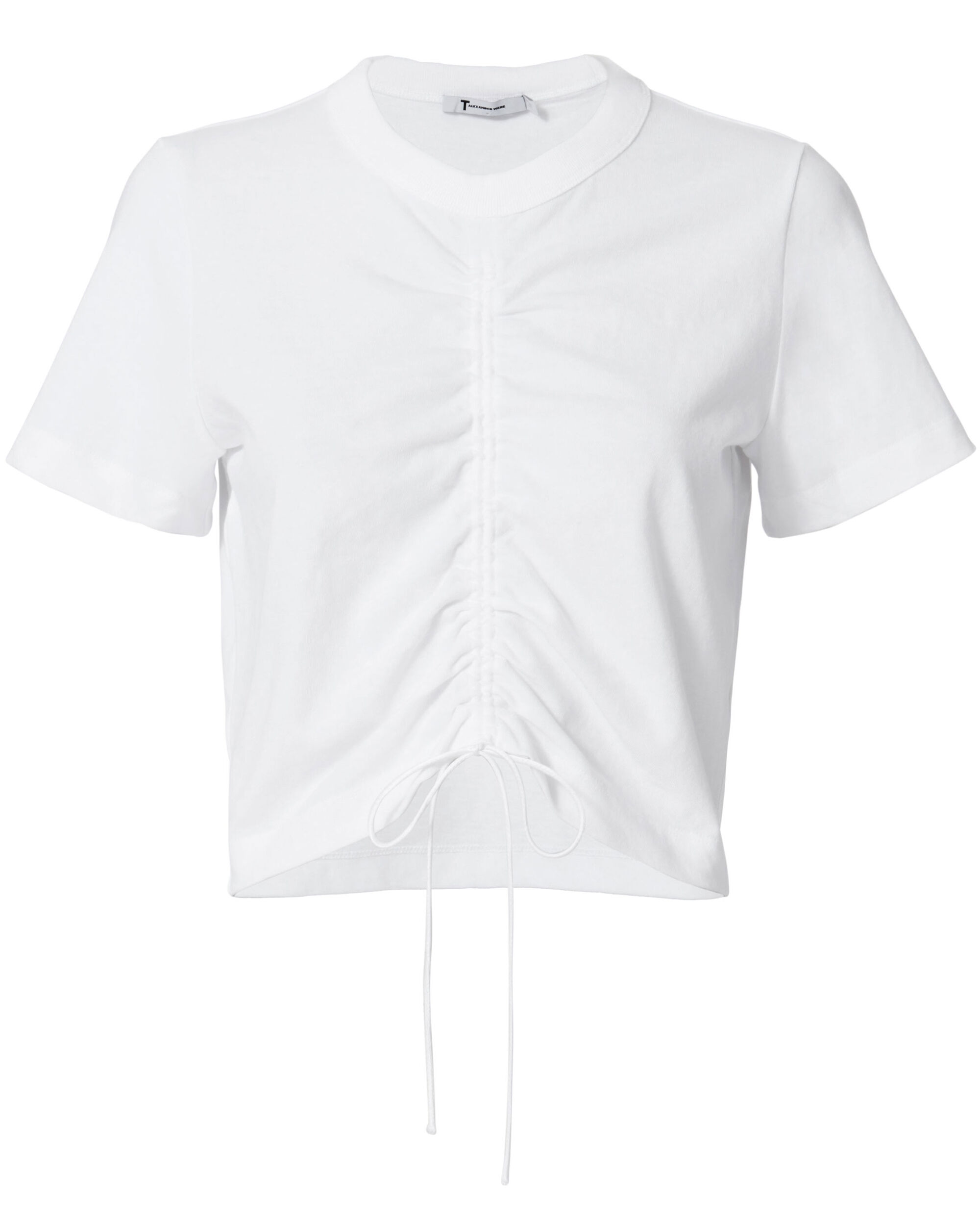 Gathered Front Tee, WHITE, hi-res