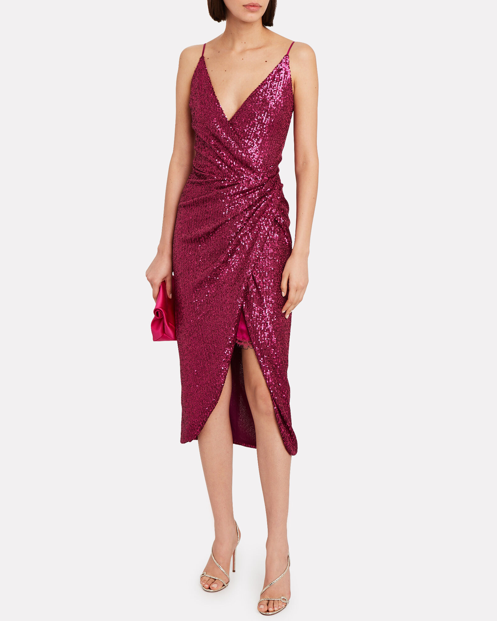 Draped Sequin Slip Dress, MAGENTA, hi-res