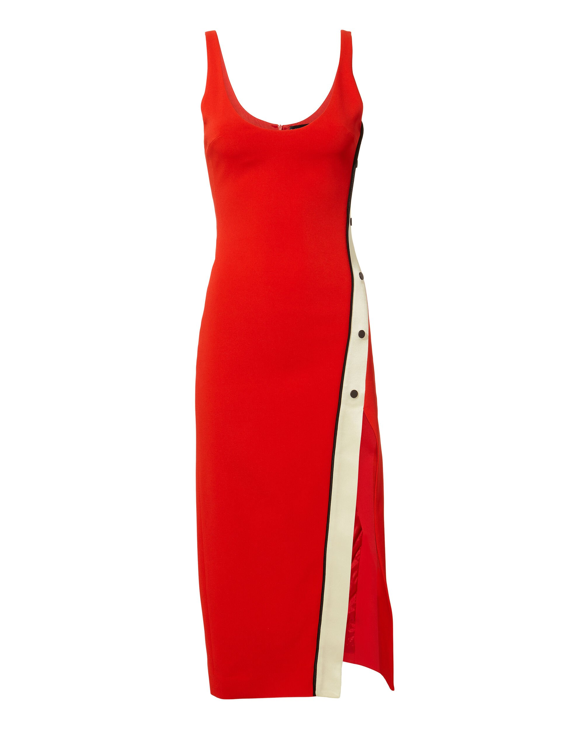 Snaps Split Tank Midi Dress, RED, hi-res