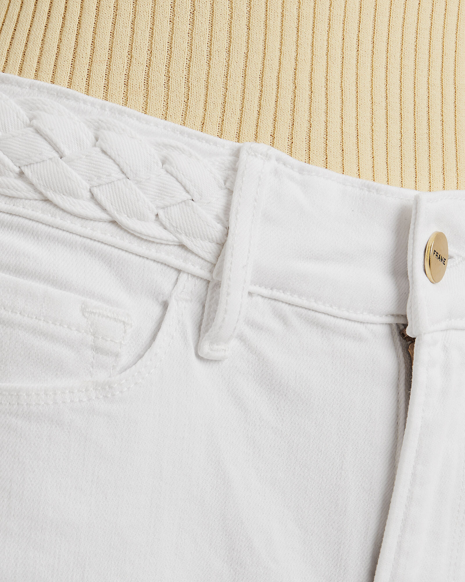 Le Palazzo Braided Waist Jeans, WHITE, hi-res