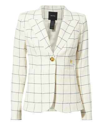Duchess Windowpane Blazer, WHITE, hi-res