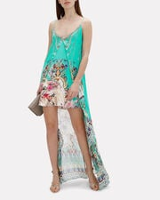 Overlay Printed Hi-Low Dress, TURQUOISE/ ABSTRACT, hi-res