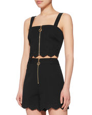 Eyelet Trim Zip Crop Top, BLACK, hi-res