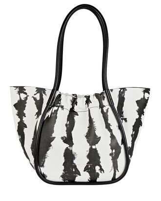 Ruched L Leather Tote, BLACK/WHITE, hi-res