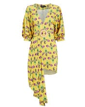 Floral Belted Asymmetric Dress, BRIGHT YELLOW, hi-res