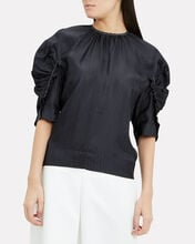 Midnight Puff-Sleeved Top, NAVY, hi-res