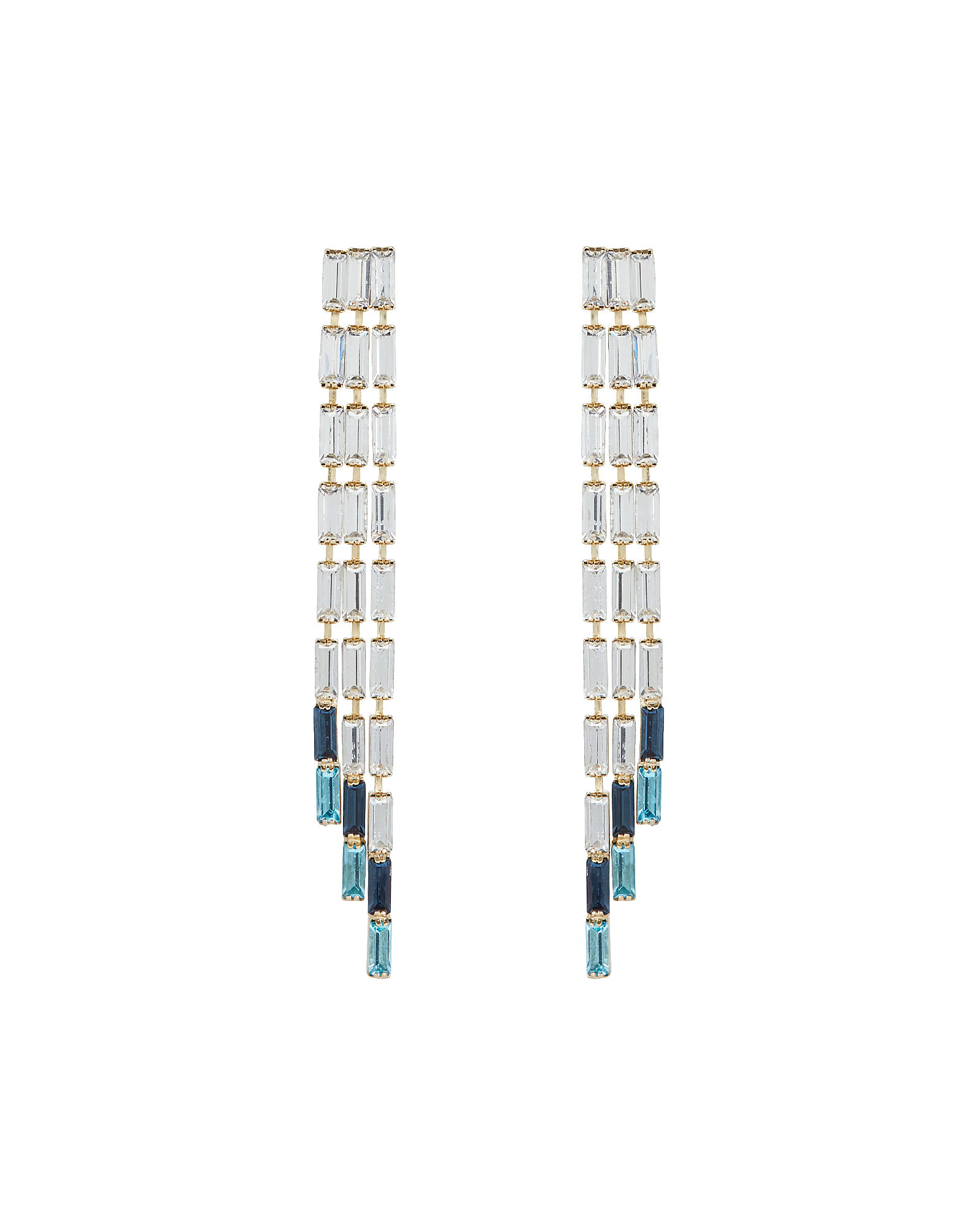 Barlume Crystal Fringe Earrings, BLUE-LT, hi-res