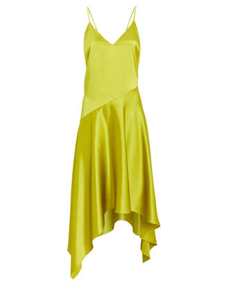 Silk Asymmetrical Slip Dress, CHARTREUSE, hi-res