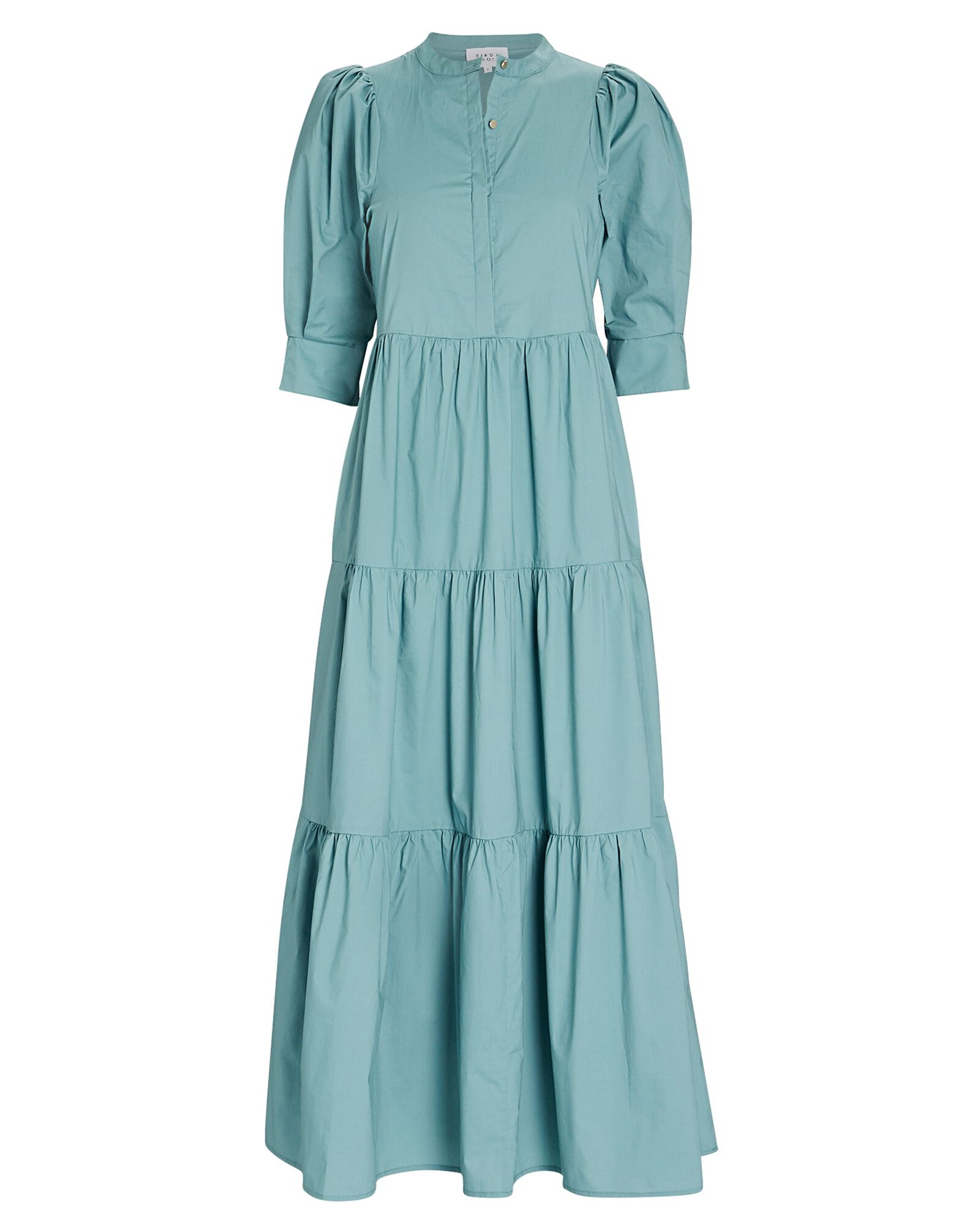 Mattea Cotton Tiered Maxi Dress, GREEN-LT, hi-res