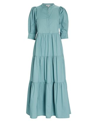 Mattea Cotton Tiered Maxi Dress, SEAFOAM GREEN, hi-res