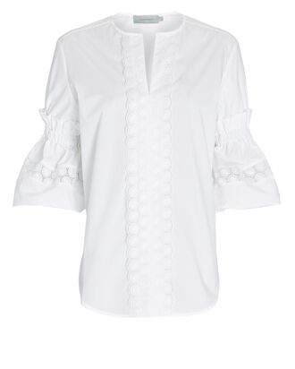 Lucaya Embroidered Cotton Blouse, WHITE, hi-res
