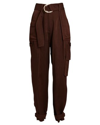 Marie Tapered Linen-Blend Cargo Pants, BROWN, hi-res