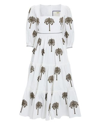 Miel Embroidered Poplin Midi Dress, WHITE, hi-res