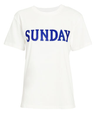Sunday White T-Shirt, WHITE/BLUE, hi-res