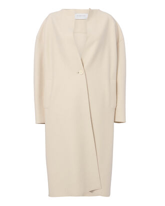 Collarless Ivory Coat, IVORY, hi-res