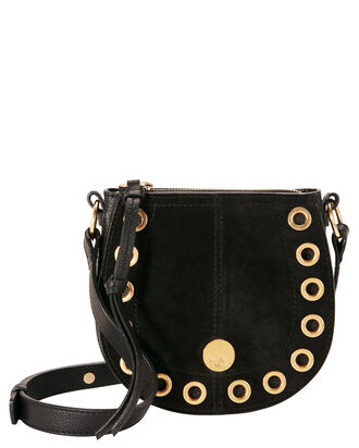 Gold Grommet Black Crossbody Bag, BLACK, hi-res