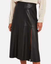 Paneled Leather Midi Skirt, BLACK, hi-res
