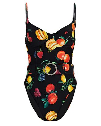 Danielle Printed One-Piece Swimsuit, BLACK, hi-res