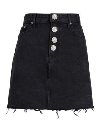 Reese Crystal-Embellished Denim Skirt, BLACK, hi-res