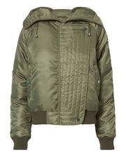 Fiona Zip Detail Hooded Puffer, GREEN, hi-res