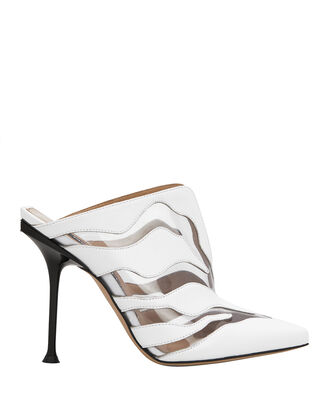 Tiger PVC Stiletto Mules, WHITE, hi-res