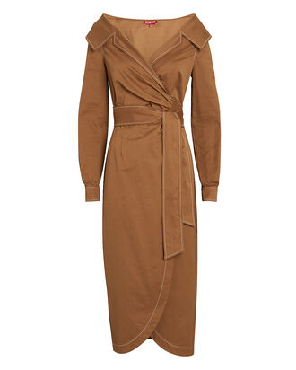 Jacklyn Midi Wrap Dress, BROWN, hi-res
