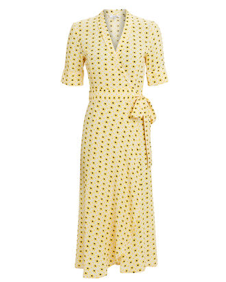 Maize Crepe Wrap Dress, YELLOW/BLACK, hi-res