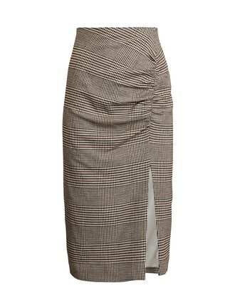 Tamic Ruched Plaid Skirt, BROWN/BEIGE, hi-res