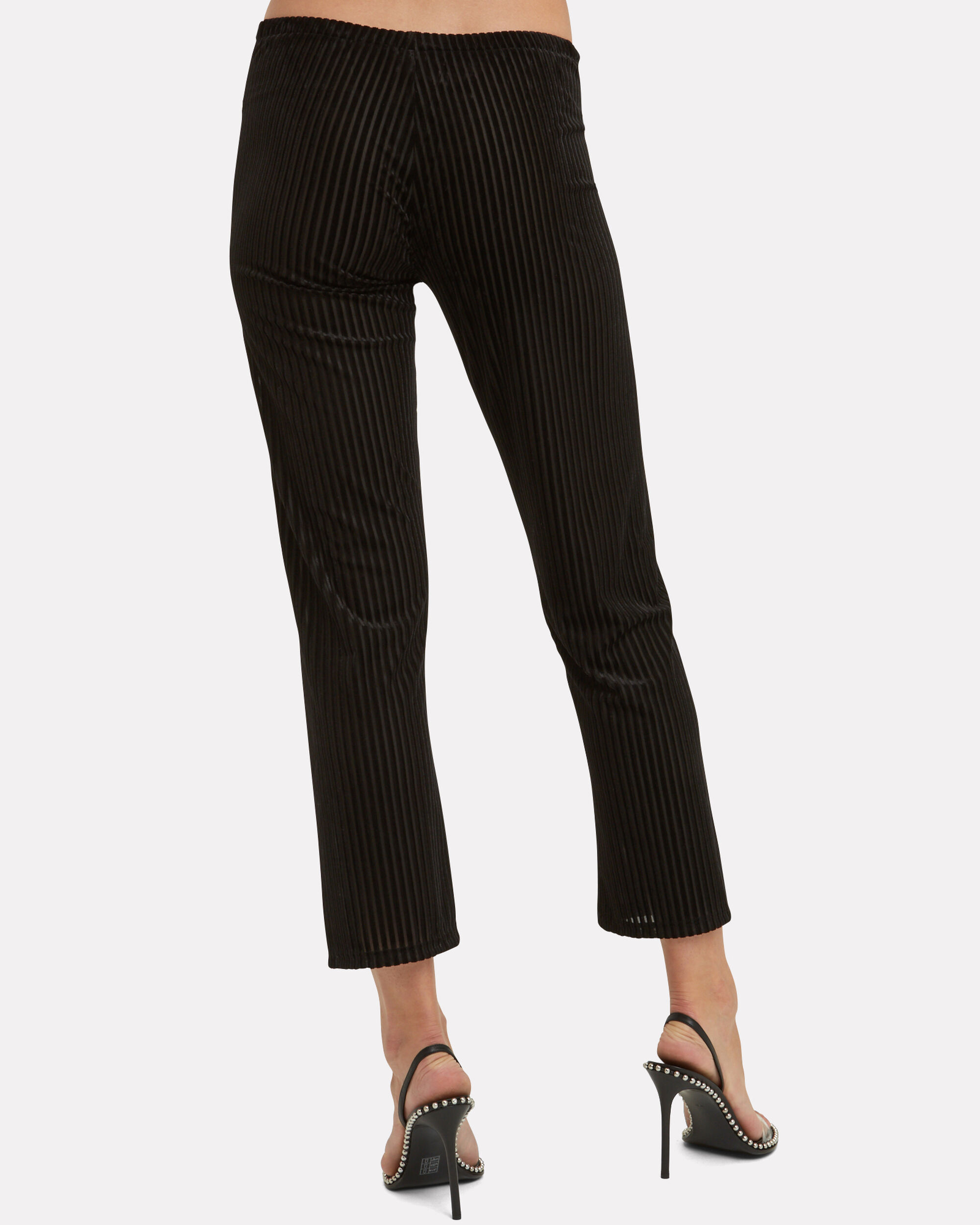 Velvet Ribbed Drawstring Pants, BLACK, hi-res