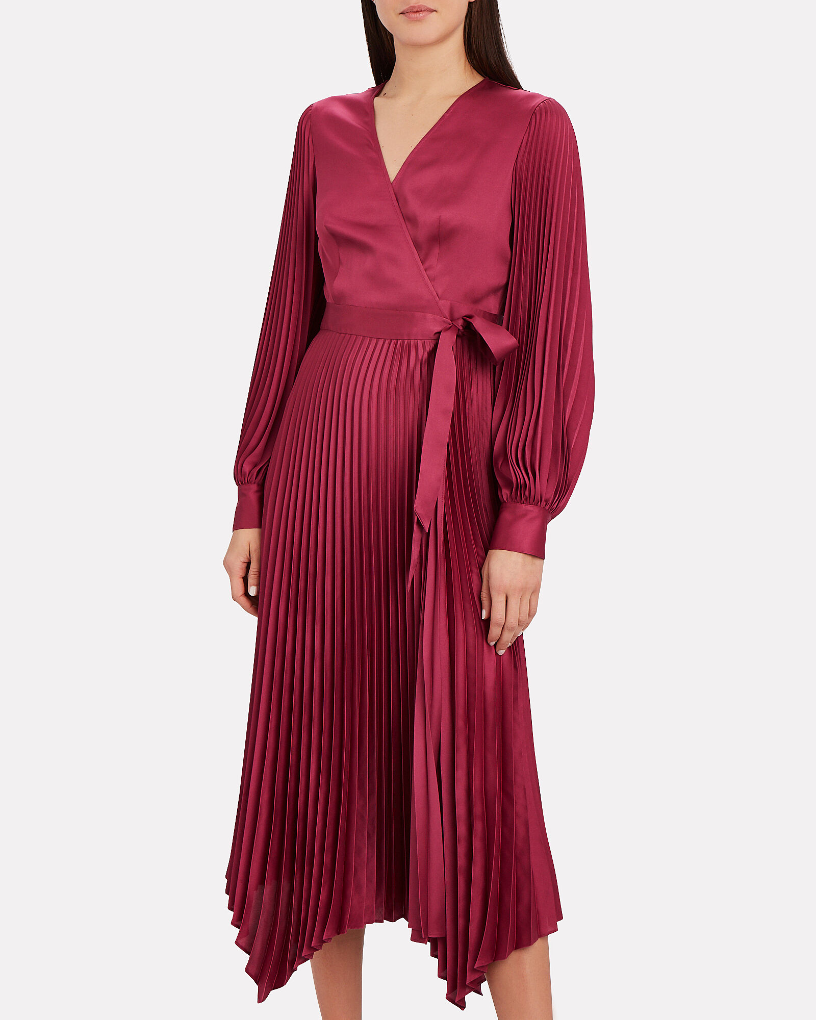 Allison Pleated Wrap Dress, PURPLE, hi-res