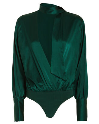 Silk Charmeuse Wrap Bodysuit, EMERALD, hi-res